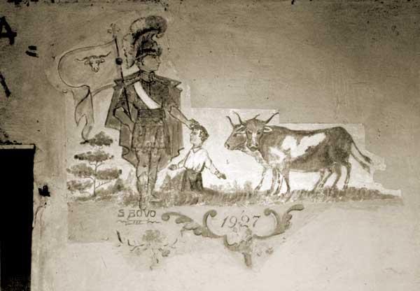 Affresco rappresentante San Bovo benedicente su un rustico a Villorba (TV). Realizzato nel 1927 - Coll. privata A. Favaro