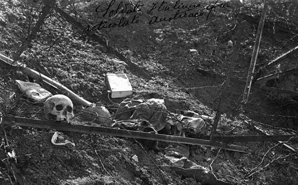Soldato Italiano fra reticolato Austriaco. Gorizia, Agosto 1916. Museo Storico di Alano (BL)