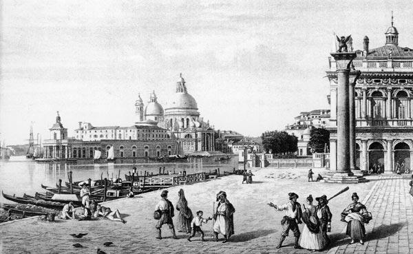 """Daguerrétype Lerebours (Martens inc.). Vue prise de la Piazetta à Venice"""", 1842 (acquatinta)"""