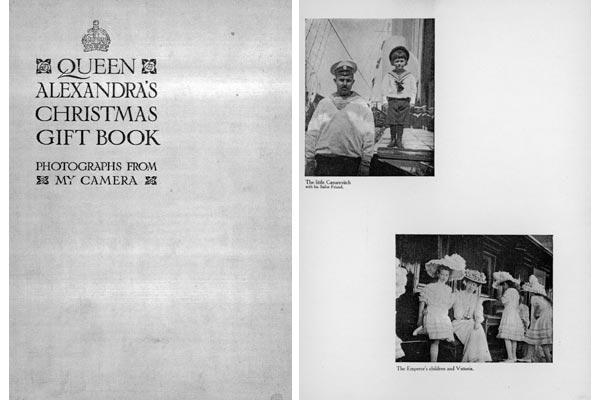 """La copertina ed una pagina dell'album di viaggio della Regina Alessandra d'Inghilterra edito nel 1908, """"To be Sold for Charity"""", dal """"The Daily Telegraph"""" di Londra"""
