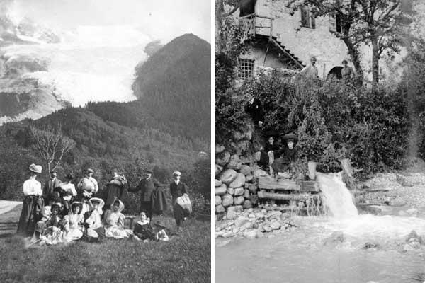 Roncegno, escursionisti, 1907, Collezione privata Recoaro, la fonte termale, 1905, Collezione privata
