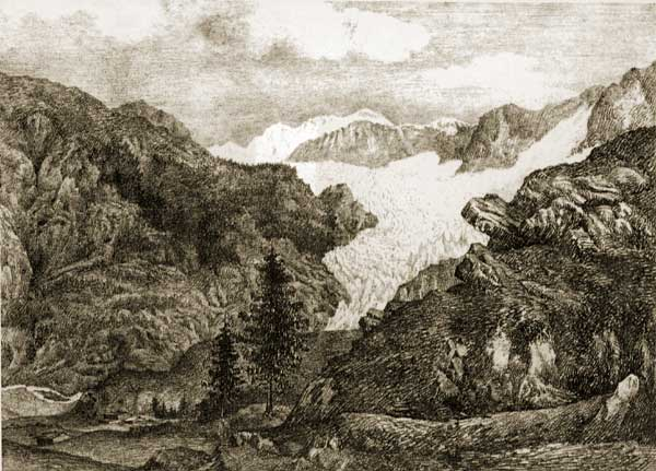 "John F. W. Herschel. The ice of Zermatt, 1821 (disegno con l'aiuto della ""camera chiara"") (da: L. J. Schaaf, Tracing of light, etc., The Friends of Photography, San Francisco, 1989)"