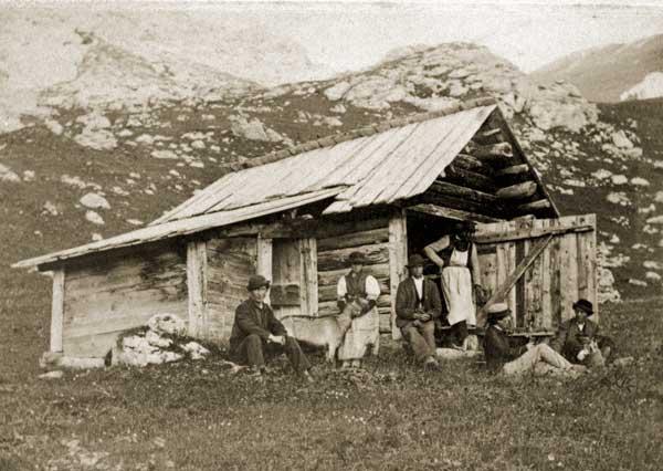 G.B. Unterveger. Baita sui Monti di Fassa, 1885 (Coll. Provincia Autonoma di Trento)