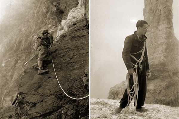 Giuseppe Mazzotti. Luigi Carrel, impegnato sulla Placca Rossa del Cervino, CH/Zermatt, inizio anni '30 Giuseppe Mazzotti. Cino Boccazzi, con la mano fasciata, ai piedi di una guglia dolomitica del Popera-Pianoro del dito. 23 luglio 1938